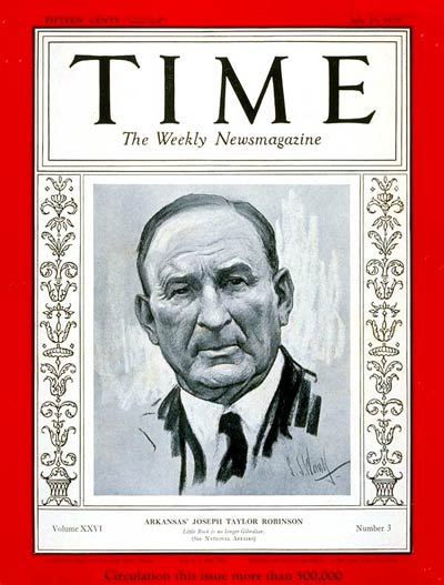 TIME Magazine Cover: Joseph T. Robinson -- July 15, 1935