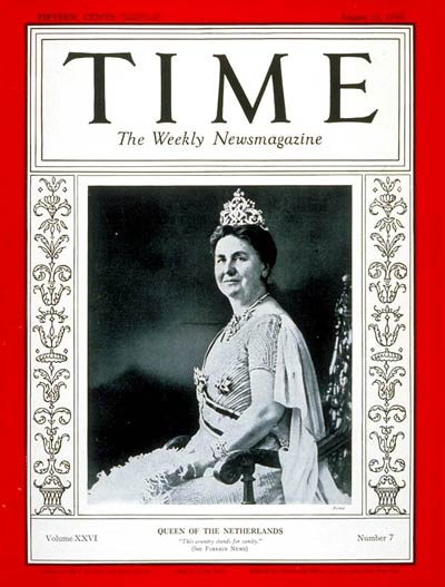 TIME Magazine Cover: Queen Wilhelmina -- Aug. 12, 1935