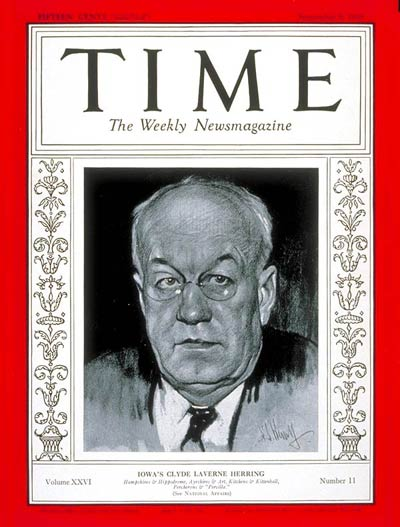 TIME Magazine Cover: Governor Clyde L. Herring -- Sep. 9, 1935