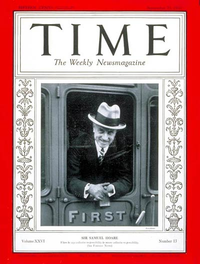 TIME Magazine Cover: Sir Samuel Hoare -- Sep. 23, 1935