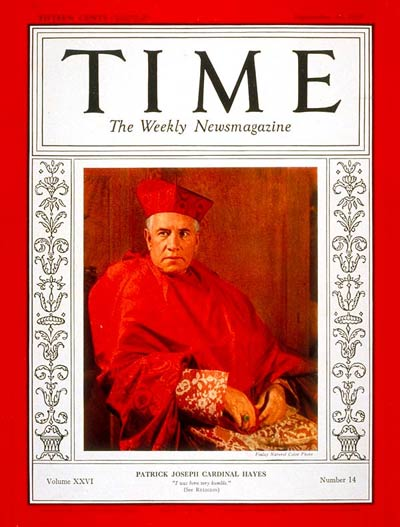 TIME Magazine Cover: Cardinal Hayes -- Sep. 30, 1935