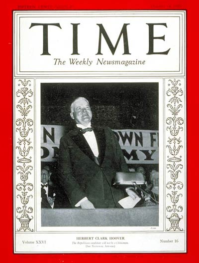 TIME Magazine Cover: Herbert C. Hoover -- Oct. 14, 1935