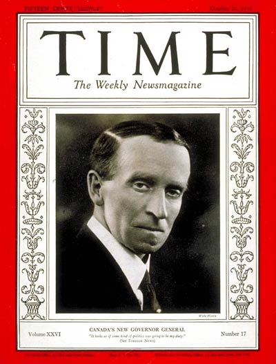 TIME Magazine Cover: Governor General John Buchan -- Oct. 21, 1935