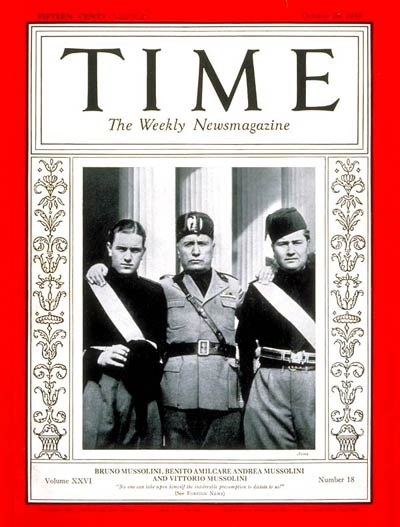 TIME Magazine Cover: Bruno, Benito & Vittorio Mussolini -- Oct. 28, 1935