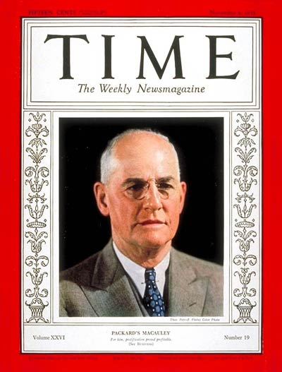 TIME Magazine Cover: James A. Macauley -- Nov. 4, 1935