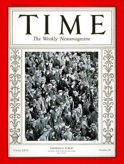 TIME Magazine Cover: Football Spectators -- Nov. 11, 1935