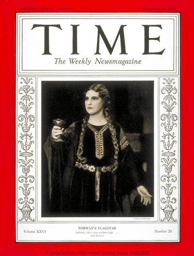 TIME Magazine Cover: Kirsten Flagstad -- Dec. 23, 1935