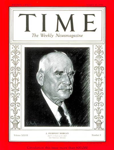 TIME Magazine Cover: J. Pierpont Morgan -- Jan. 20, 1936