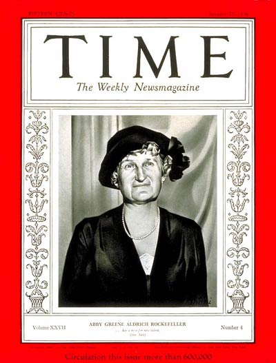 TIME Magazine Cover: Abby Rockefeller -- Jan. 27, 1936