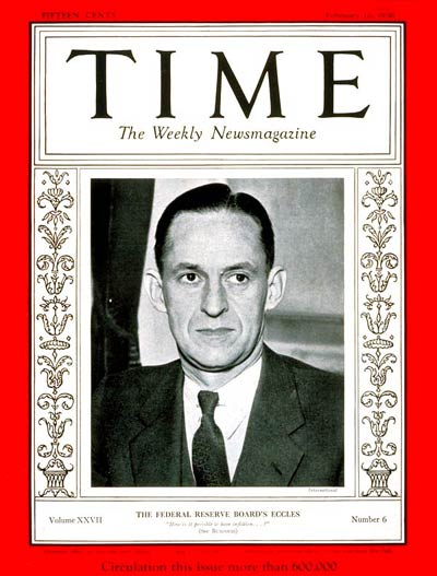 TIME Magazine Cover: Marriner S. Eccles -- Feb. 10, 1936
