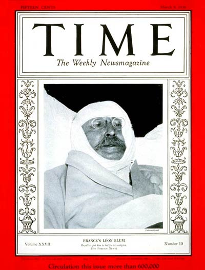 TIME Magazine Cover: Leon Blum -- Mar. 9, 1936