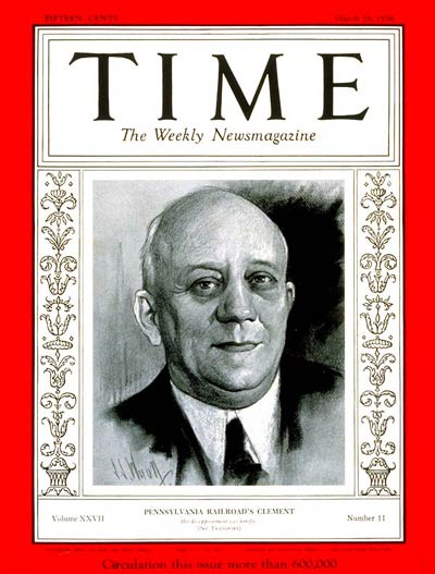 TIME Magazine Cover: Martin W. Clement -- Mar. 16, 1936