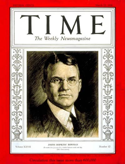 TIME Magazine Cover: Isaiah Bowman -- Mar. 23, 1936