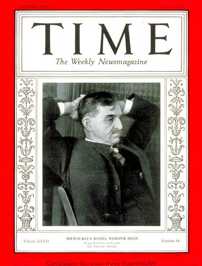 TIME Magazine Cover: Mayor Daniel W. Hoan -- Apr. 6, 1936