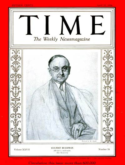 TIME Magazine Cover: Frank N.D. Buchman -- Apr. 20, 1936