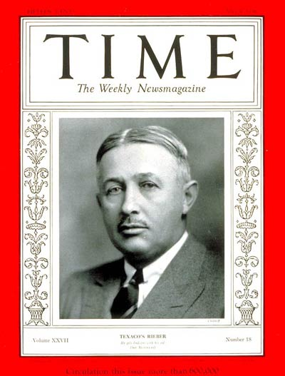 TIME Magazine Cover: Torkild Rieber -- May 4, 1936
