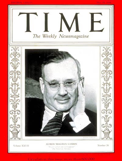 TIME Magazine Cover: Governor Alfred Landon -- May 18, 1936