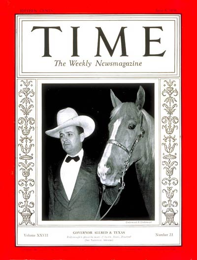 TIME Magazine Cover: Governor James V Allred -- June 8, 1936