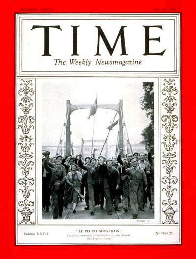 TIME Magazine Cover: French Strikers -- June 22, 1936