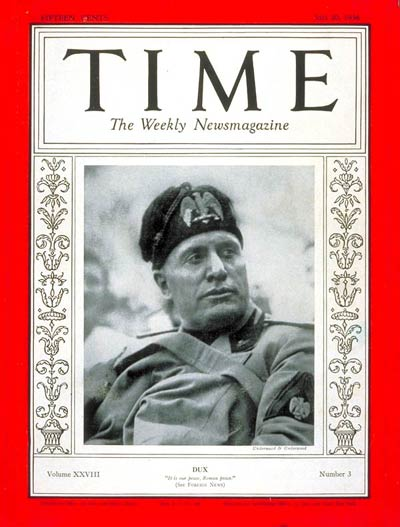 TIME Magazine Cover: Benito Mussolini -- July 20, 1936