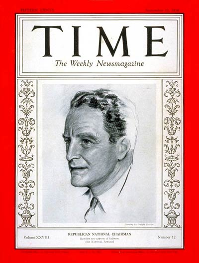 TIME Magazine Cover: John D. M. Hamilton -- Sep. 21, 1936