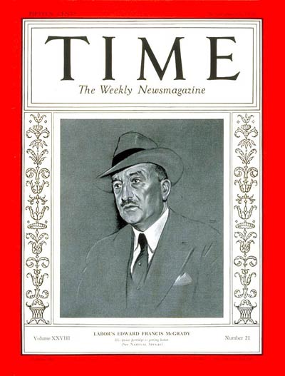 TIME Magazine Cover: Edward F. McGrady -- Nov. 23, 1936