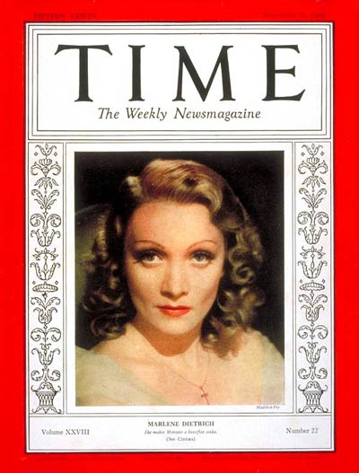 TIME Magazine Cover: Marlene Dietrich -- Nov. 30, 1936