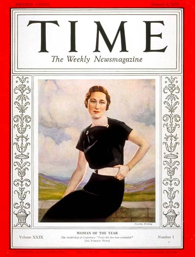 TIME Magazine Cover: Wallis Warfield Simpson, Woman of the Year -- Jan. 4, 1937