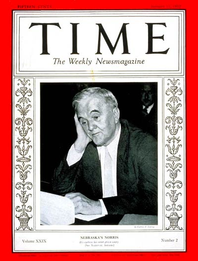 TIME Magazine Cover: Senator George Norris -- Jan. 11, 1937