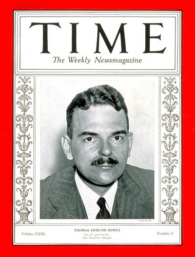 TIME Magazine Cover: Thomas E. Dewey -- Feb. 1, 1937