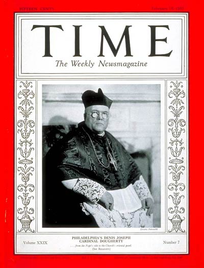 TIME Magazine Cover: Cardinal Dougherty -- Feb. 15, 1937