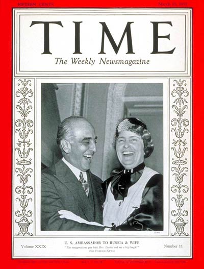 TIME Magazine Cover: Joseph E. Davies -- Mar. 15, 1937