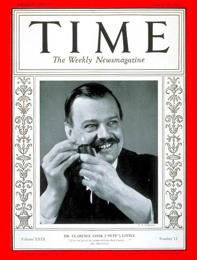 TIME Magazine Cover: Dr. Clarence Little -- Mar. 22, 1937