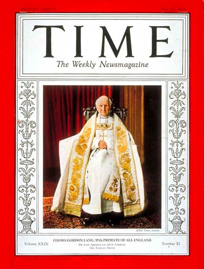 TIME Magazine Cover: Cosmo G. Lang -- May 24, 1937