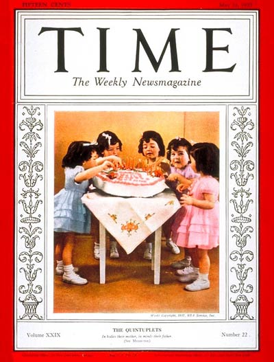 TIME Magazine Cover: Dionne Quintuplets -- May 31, 1937