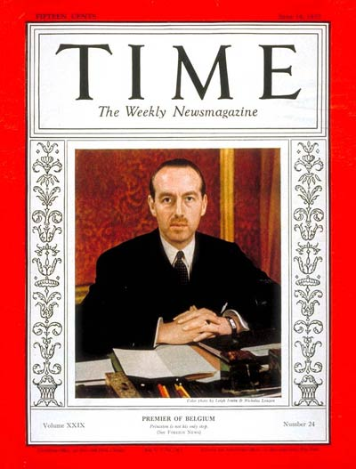TIME Magazine Cover: Paul van Zeeland -- June 14, 1937
