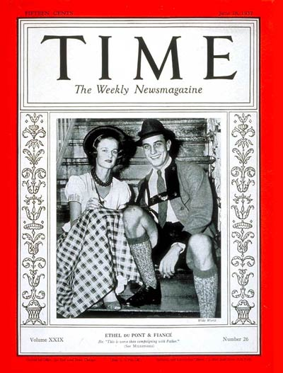 TIME Magazine Cover: Ethel Du Pont & Franklin Roosevelt Jr. -- June 28, 1937
