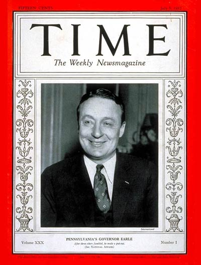 TIME Magazine Cover: Governor George Earle III -- July 5, 1937