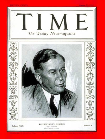 TIME Magazine Cover: Senator Alben Barkley -- Aug. 23, 1937