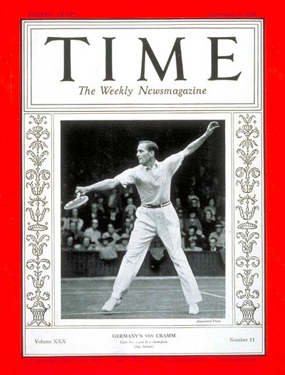 TIME Magazine Cover: Gottfried von Cramm -- Sep. 13, 1937