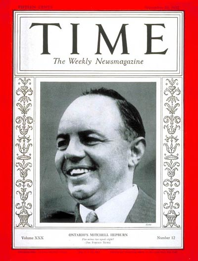 TIME Magazine Cover: Mitchell F. Hepburn -- Sep. 20, 1937