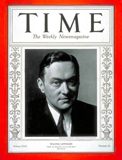 TIME Magazine Cover: Walter Lippman -- Sep. 27, 1937
