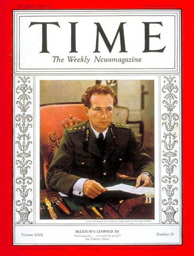 TIME Magazine Cover: King Leopold III -- Nov. 22, 1937