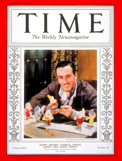 TIME Magazine Cover: Walt Disney -- Dec. 27, 1937