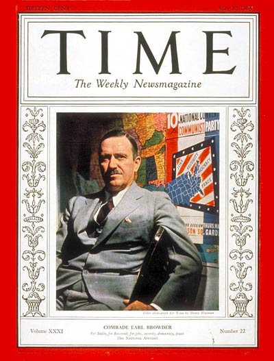 TIME Magazine Cover: Earl Browder -- May 30, 1938