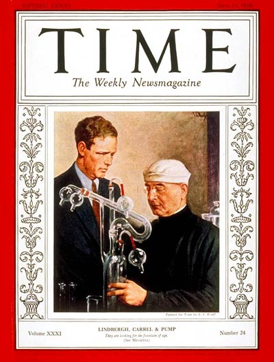 TIME Magazine Cover: Charles A. Lindbergh & Dr. Alexis Carrel -- June 13, 1938