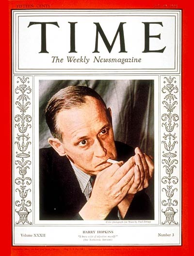 TIME Magazine Cover: Harry L. Hopkins -- July 18, 1938
