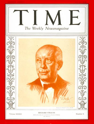 TIME Magazine Cover: Richard Strauss -- July 25, 1938