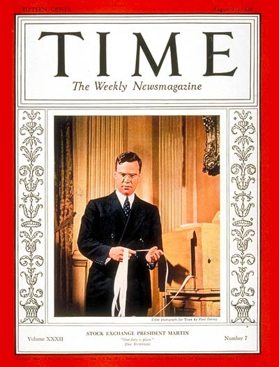 TIME Magazine Cover: Wm. McChesney Martin -- Aug. 15, 1938