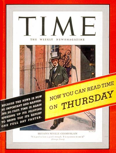 TIME Magazine Cover: Neville Chamberlain -- Oct. 17, 1938